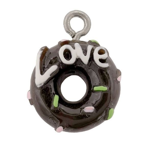 Acrylic Dark Chocolate Love Doughnut Whole 13mm